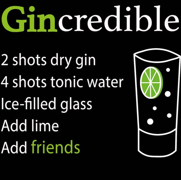 Gincredible design - 2 shots gin, 4 shots tonic, ice filled glass, lime, friends