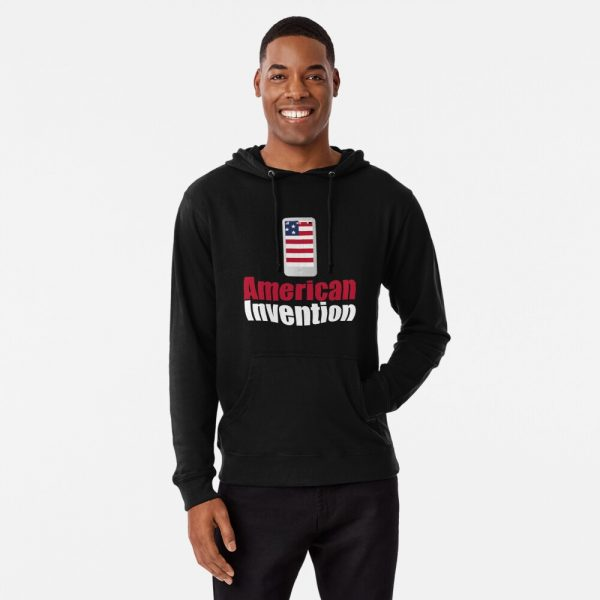 American invention Lightweight Black hoodie - Redbubble