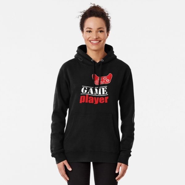 Game player Red Controller Women's Hoodie Pullover Redbubble